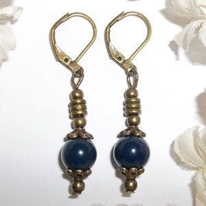 Navy Blue & Bronze Earrings Set Handmade NWT 5114